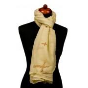 Sjaal créme/geel met kuizen
