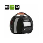 360 degrés 4K Action Camera - 30M étanche, 220 Degree Fish Eye Lens, 16MP, FHD 2448P à 30fps, Wi-Fi, HDMI (Noir)