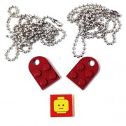 Lego Parts: Necklace/Keychain Bundle Kit (2) Dark Red Modified 3 x 2 Plates with Hole (1) Decorative Tile (1) 24 Ball Chain