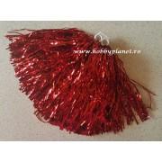 Pompon majorete rosu metalizat - 1buc