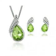 Csepp formájú kristályos ékszerszett - Zöld