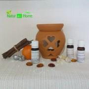 Candelă de aromaterapie și uleiuri esențiale 3X10 ml EUCALIPT, PORTOCALĂ și LAVANDĂ