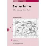 Fietskaart - Topografische kaart - Wegenkaart - landkaart 36 Saane - Sarine | Swisstopo