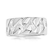 Couro Sterling Silver Men's Curb Weave Ring - Size V