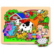 Puzzled Farm Animals Jigsaw Raised Wooden Puzzle