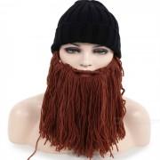 Personalidad creativa gran barba + sombrero de punto para el invierno - negro + marron