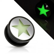 16 mm Screw-fit plug glow in the dark ster