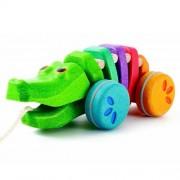 Tęczowy krokodyl do ciągnięcia - drewniana zabawka ze sznurkiem do ciągnięcia, Plan Toys PLTO-1416
