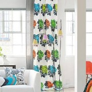 "Vorhang ""Ramblas"", 1 Vorhang, 129 x 245 cm - Orange/Grün/Türkis"