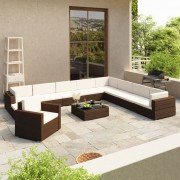 Poly Rattan loungeset 35-delig (bruin)