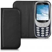 Kwmobile Flip Cover Pour Nokia 3310 (2017) En Noir Avec Revêtement En Cuir Synthétique Et Ouverture