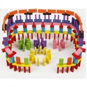 InnovationWorld 120pcs Authentic Wooden Domino Stacking and Building Toy Blocks Set, Racing Toy Game by InnovationWorld