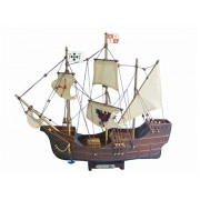 "Santa Maria With Embroidery 14"" Wooden Model Tall Ship Christopher Columbus"