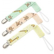 Pacifier Clip - 3 Pack Unisex - Unique 2-Sided Jungle Stars Design Pacifier Holder Set for Girls and Boys - Best Binky