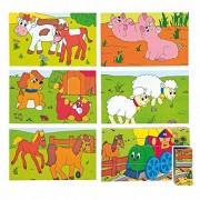 Woodyland 3 x 5 Happy motore e Farm Animals Cubi Picture Puzzle (15 pezzi)