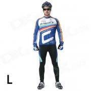 INBIKE Hombres Ciclismo Jersey larga Top + pantalones acolchados Set - blanco + azul + Multi-color (L)