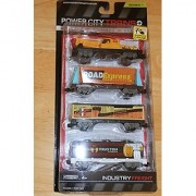 Jakks Pacific Year 2014 Series 7 Power City Trains 4 Pack Train Accessory Set Freight Cars - Flatbed Trailer with Working Crane Road Express Shipping Car Cesarini Car and Petroleum Car by POWER CITY TRAINS