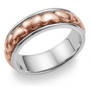 Eternal Heart Wedding Band Ring - 14K White and Rose Gold