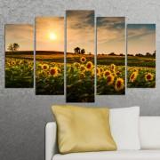 Декоративен панел за стена със слънчогледи при залез Vivid Home