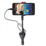 Suport auto telefon cu doua incarcatoare rapide USB (Negru)