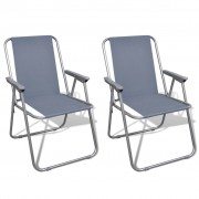vidaXL Сгъваеми столове за къмпинг, сиви – 2 бр.
