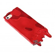"Husa Iphone 5 / Iphone 5S / Iphone SE ""Melted metal"" METALIZATA METALIC RED"