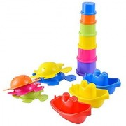 Large 14 pcs Pack of Bath Toys Play Set with Stacking Cups Boats and Turtles