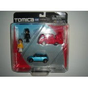 Tomica Hypercity Rescue 2-Pack Mitsubishi Fuso Canter Fire Engine Red & Mini Cooper Light Blue With 2 Figurines