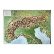 Wandkaart van de Alpen met Reliëf, 77 x 57 cm | Geo Relief