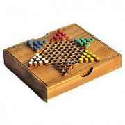 Chinese Checkers Wooden Game Wooden board game Traveling size Dimensions: Approx : 5.86 x 6.56 x 1.05 inches