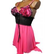 Afrodita košilka s tangy M růžová