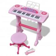 vidaXL Детско пиано с 37 клавиша, стол и микрофон, розов цвят