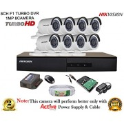 Hikvision CCTV Security System With Turbo DS-7208HGHI-E1 8CH DVR + DS-2CE16COT-IRP HD Bullet Camera 8pcs + 1TB HDD + Active Cable + Active Power Supply Full Combo
