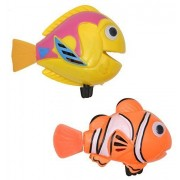 Set Of 2 Funny Wind Up Swimmers Clown Fish Bathtub Baby Toy