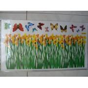 Decorazione adesiva da muro - Fiori nel prato con farfalle