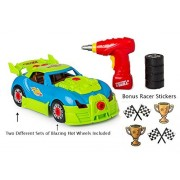 ALL IN ONE EASY-FUN TOY RACING CAR SET - TAKE A PART RACE CAR KIT- LIGHTS-ENGINE SOUNDS-TOOLS + ALL BATTERIES AND BONUS RACER STICKERS INCLUDED - PERFECT FOR AGES 3 4 5 + BY TECH E SMART (TM)