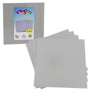 """Brick Building Base Plates By Scs Large 10""""X10"""" Grey Baseplates (4 Pack) Tight Fit With Lego"""