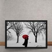Quadro Decorativo Guarda Chuva Vermelho na Neve 25x35