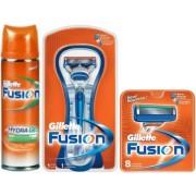 Gillette Combi Fusion Systeem + 8 mesjes + Scheergel