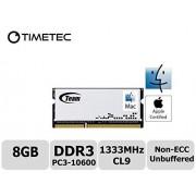 Timetec® Team 8 Go DDR3 (PC3-10600) 1333MHz Non-ECC, non tamponné, CL9, 2Rx8, 1.5V, SODIMM, 204 broches de double rang de portable / Notebook Memory Module Upgrade