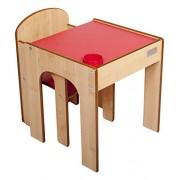 Little Helper originale FunStation Bambino Set banco e sedia con la penna / spazzola Pot (Maple / naturale / Fine Red)