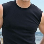 Falocco Collection Montauk Sleeveless Muscle Top T Shirt Black