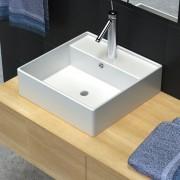 vidaXL Луксозна керамична мивка с преливник и отвор за смесител, квадратна