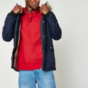 River Island Navy faux fur trim hooded parka jacket