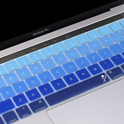 ProElife 2016-NEW Ultra Thin Silicone Keyboard Cover Skin for MacBook Pro 13 MacBookPro 15 with Multi-Touch Bar and Retina 1 pcs keyboard cover Sliver Color Fade in Blue 1 pcs keyboard cover