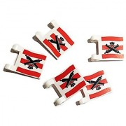 Lego Parts: Flag with Crossed Cannons over Red Stripes 5 Count