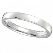 18k White Gold Wedding Ring Low Dome Comfort Fit (2mm)