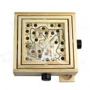 Wood Educacion bolas Rodamientos Maze Puzzle Juego - Luz amarilla + Negro