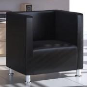 vidaXL Модерен фотьойл от изкуствена кожа, цвят черен