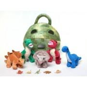 "Unipak 12"" Plush Dinosaur House with Dinosaurs - Five (5) Stuffed Animal Dinosaur in Play Dinosaur C"
